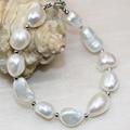 Irregular Natural 12-14mm white pearl beads charms pulseras regalos de la fiesta de bodas elegantes mujeres novia joyería diy 7.5 pulgadas B3000