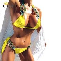 Oiyeefo Shiny Sexy Luxury Rhinestone Bikini Beach Bathers Bathing Suits Women May Yellow Swimwear Female Swimsuit