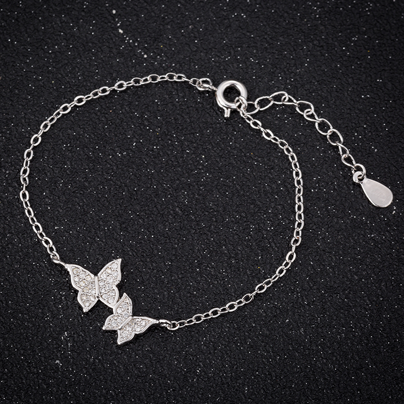Hfarich Bracelet Elegant Simple Crystal Butterfly Bracelet Bangle For Women Chain Jewelry Gold Rose color Dropshipping 6