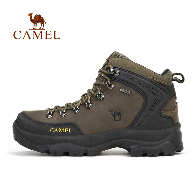 CAMEL Outdoor High-Top Leather Lace-up Hiking Shoes For Men Anti-skid Wear-resistant Trekking Hunting Mountain Climbing Boots