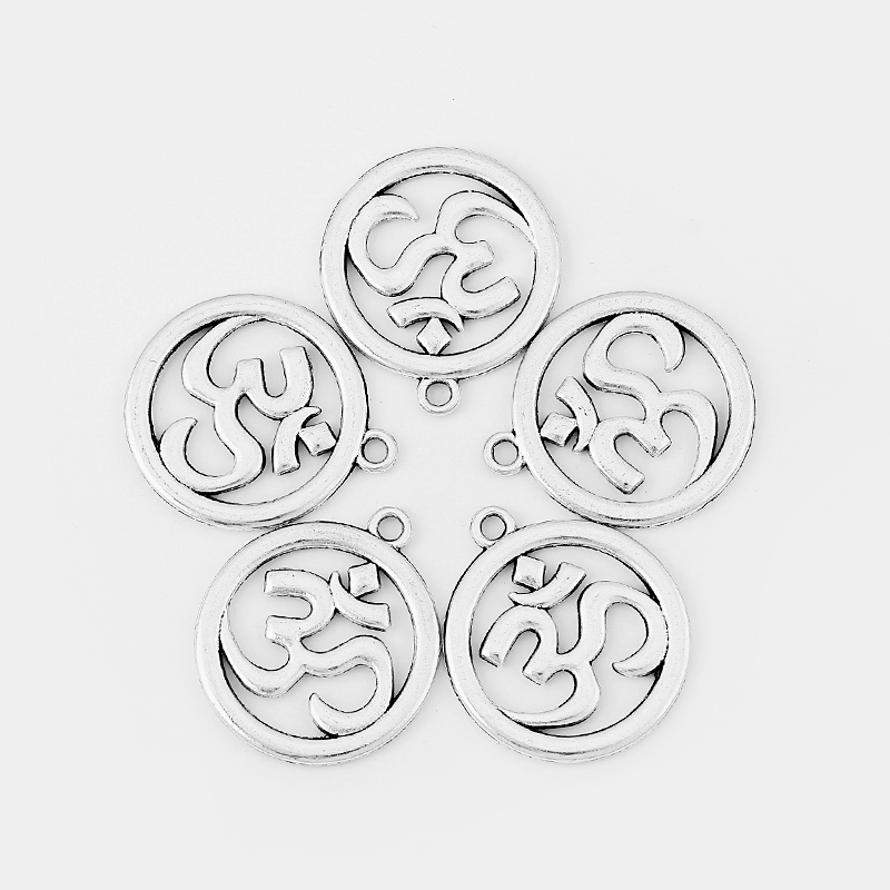 10pcs Antique Silver Hollow Open OM OHM YOGA Symbol Charms Pendant For Necklace Bracelet Jewelry Making Accessories 30*34mm