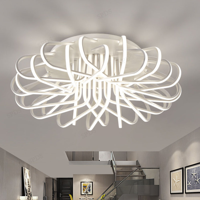 Modern Bird Nest Wrought Iron Aluminium LED Interior Lighting Ceiling Lamps Home Decoration Remote Surface Mounted Lamp