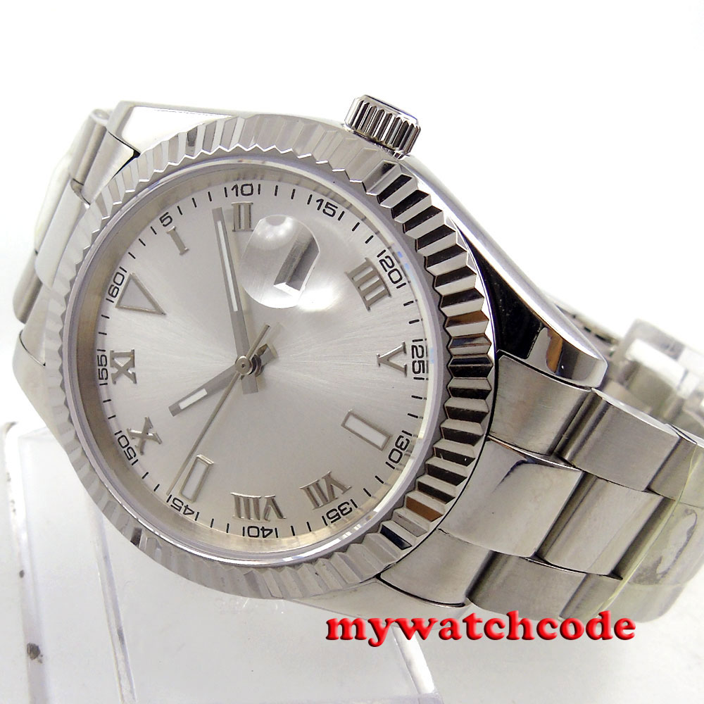 40mm parnis silver dial date sapphire glass automatic ss mens wrist watch P188