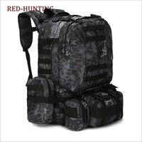 새로운 남자 여행 하이킹 배낭 야외 전술 군사 배낭 분리형 대용량 가방 50l 팩 가방