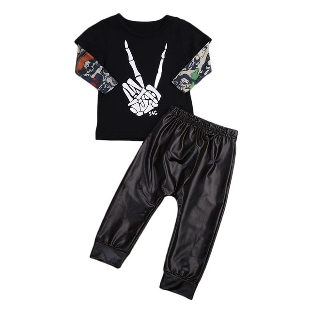 25468cbb81a82 pudcoco 2017 Toddler 0-2T Baby Kids Boys Clothes set baby punk style rock  set Tops T-shirt+chaparejos baby boy Outfits Set