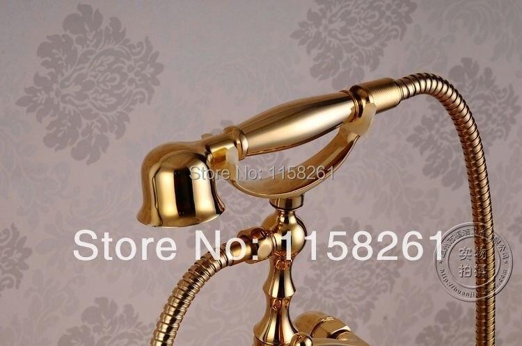 Смесители для ванны золотой Латунный смеситель для душа для ванной комнаты дождь ручной душ напольная подставка Телефон роскошная ванна смеситель кран Набор HJ-5024