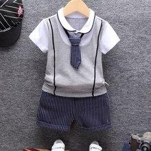 2019 neue Sommer Baumwolle Baby Jungen Kleidung Sets Formal Infant 1 Jahr Geburtstag Party Kleidung Anzug T-shirt + hose Kinder der Tuch Set