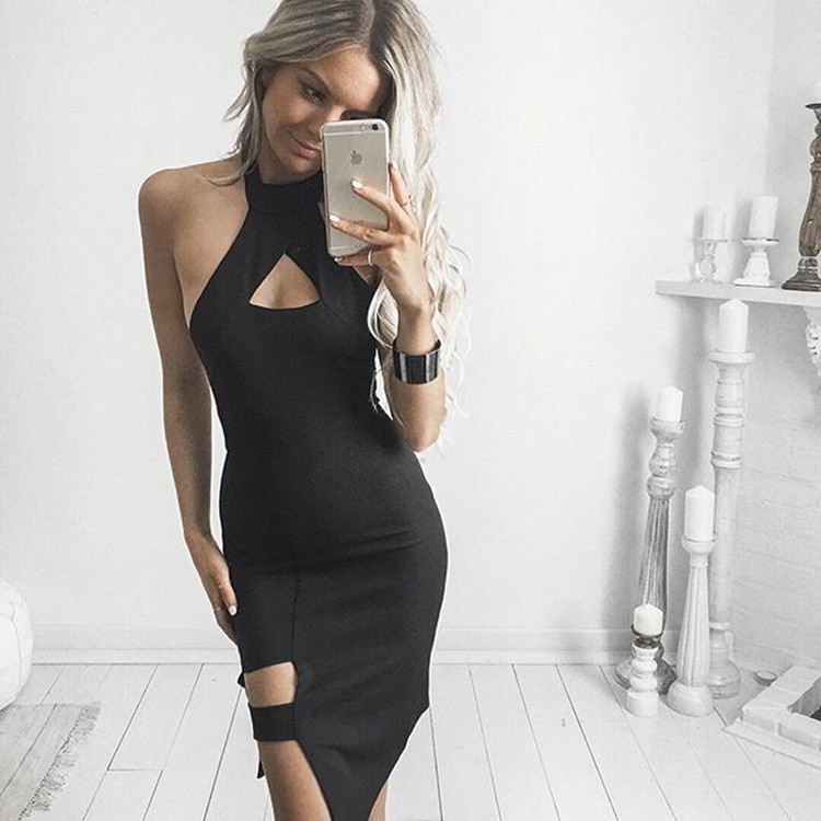 2017 new summer black sexy halter dress the United States simple fashion solid color waist dress