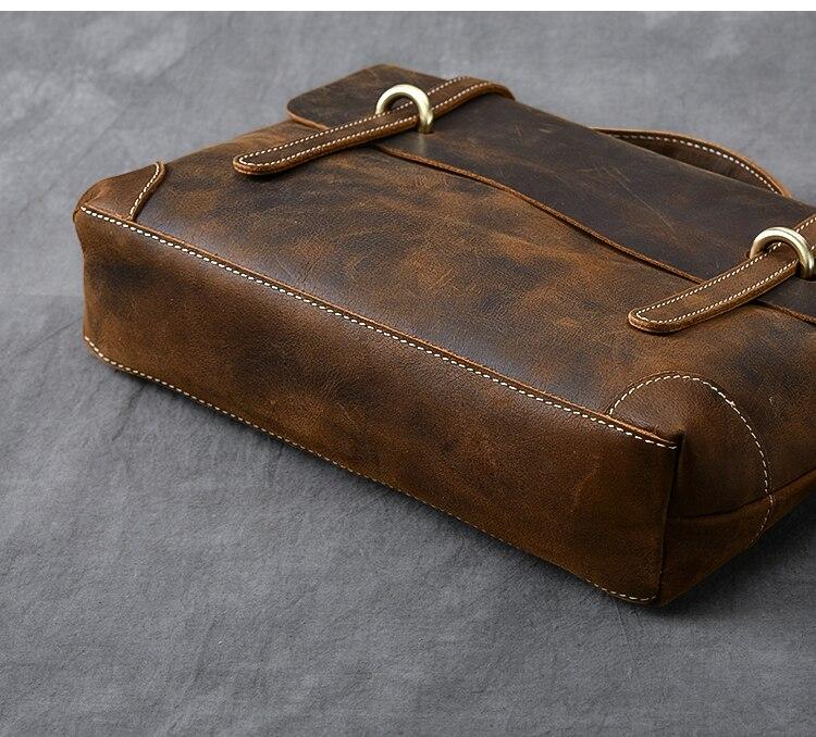 Brown Leather Handbag Vintage bottom side