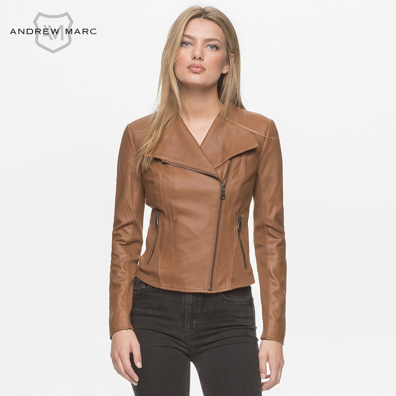 c0644b36ce0 ANDREWMARC MNY New Spring Women Leather Jacket Coat Slim Stand ...