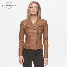 ANDREWMARC MNY  New Spring Women Leather Jacket Coat Slim Stand Collar Genuine Real Leather Coats for Female TW7J1724