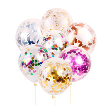 10pcs 12inch Ballons Decoration Birthday Crown Sequin Balloon Transparent Colorful Latex Balloons Party Decorations Wedding D20