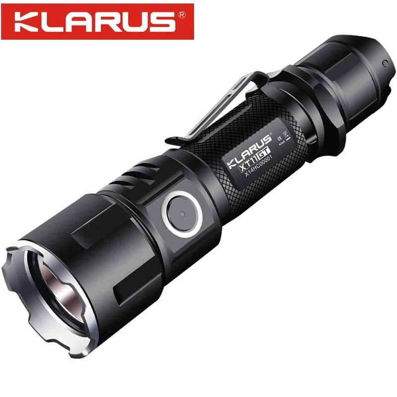 Nouveau KLARUS XT11GT CREE XHP35 LED 2000 Lm 4 Mode Tactique Led Lampe De Poche + Port USB Libre et 18650 Battey pour L'autodéfense