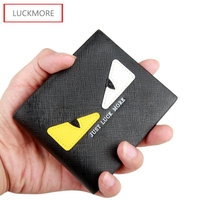 LUCKMORE Lady Letter Snap Fastener Short Clutch Wallet Solid Vintage Matte Women Wallet Fashion Small Female