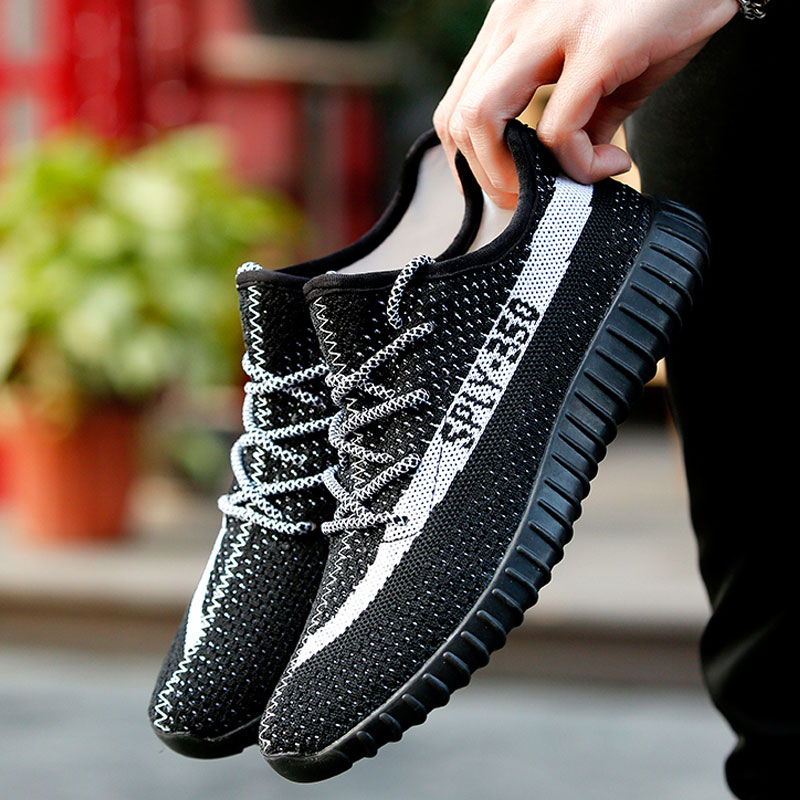 New Spring Men s Casual Shoes Flat Shoes Superstar Fly weave Coconut shoes Breathable Air Mesh