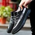 Nuevos hombres de la Primavera Zapatos Casuales Zapatos Planos de la Superestrella Fly tejer zapatos de Malla de Aire Respirable Zapatos De Coco Cesta Fmme Zapatos Hombre