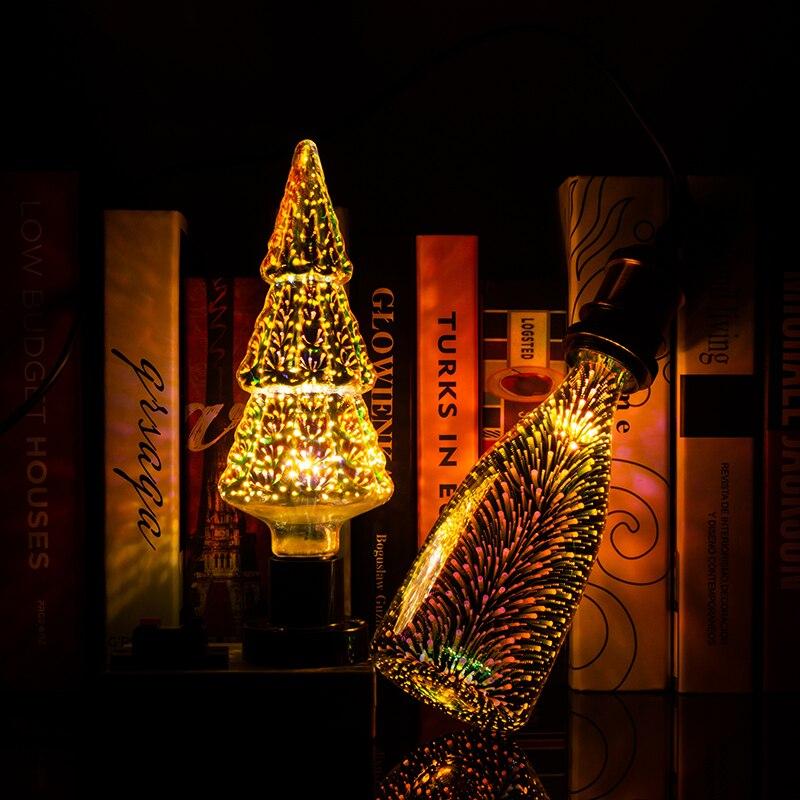 E27 3D Bulb Led RGB Light Christmas Decoration Holiday Lamp A60 ST64 G80 G95 G125 Bottle Diamond Heart Skull 110V 220V LED Bulb