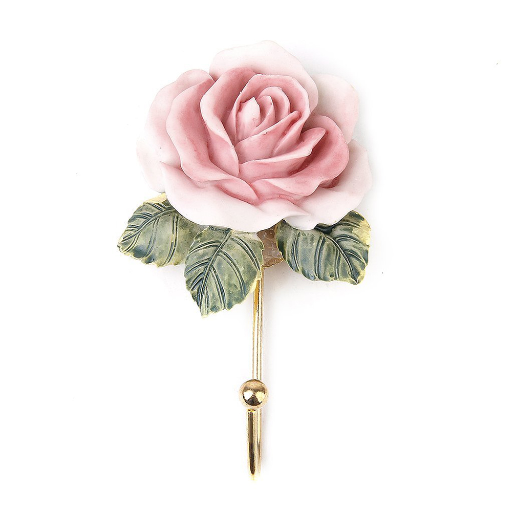 Pink 2pcs lovely rose decor wall mounted towel hanger cute for Decoration avec des roses