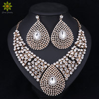 Fashion Bridal Gold Color Jewelry Sets Wedding Necklace Earring For Brides Party Costume Accessories