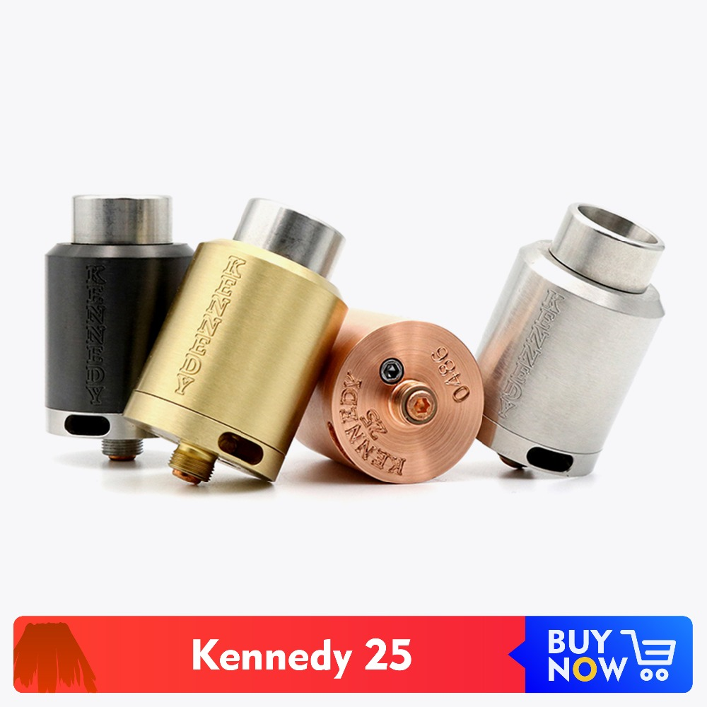Volcanee Kennedy 25 RDA Rebuildable Atomizer 25mm Wide Bore Metal Drip Tip For E Cigarette Tank Box Mod Vape