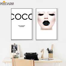 Modern Vogue COCO Black Lips Sexy Girl Wall Art Canvas Poster Minimalist Print Painting Picture for Living Room Home Decor