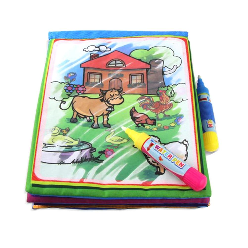 Горячие дети акварель доска цветной рисунок с ручкой Игрушечные лошадки детства Раннее Обучение английский ферма граффити акварель книга