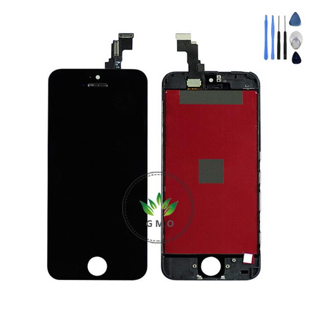 Aaa qualidade lcd para iphone 5 5c 5s display lcd com tela de toque digitador assembléia + ferramentas frete grátis