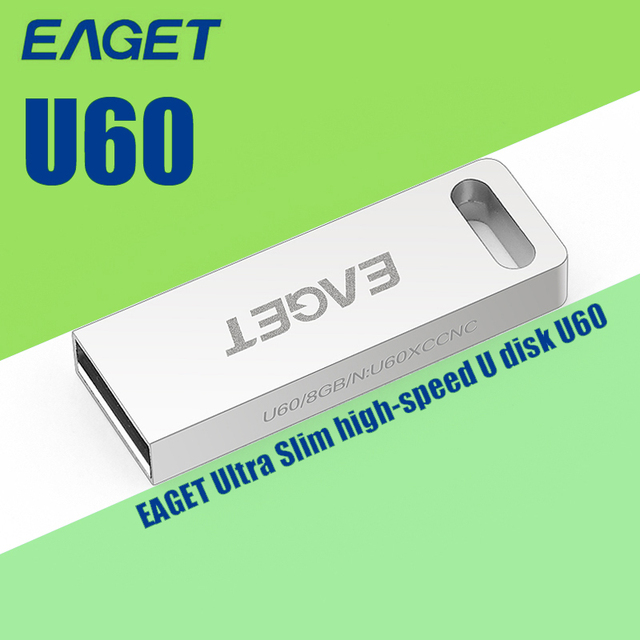 Original U60 EAGET USB 3.0 16G 32 GB 64G USB Flash Drive Memory Stick Pendrive USB3.0 de Alta velocidad de Metal Pen Drive USB Stick