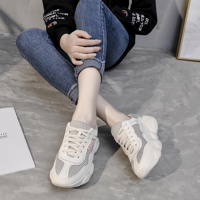 Thick Platform Shoes Women Casual Black Lace Up Round Toe Sneakers Female Creepers Moccasins luxury shoes women designers