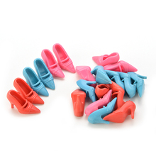 Shoes Doll-Parts Christmas-Gift Girls Colorful for Toy 10-Pairs High-Heeled