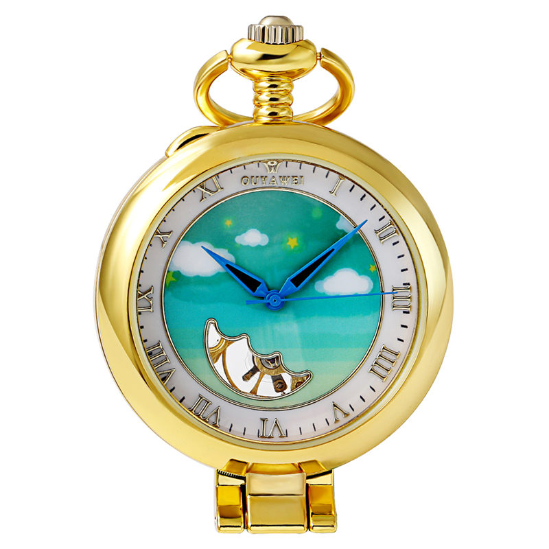 OUYAWEI Kid's Cute Mechanical Pocket Watch Adorable Cloud and Star Dial watch Necklace Chain Kids Children Birthday Xmas Gifts old antique bronze doctor who theme quartz pendant pocket watch with chain necklace free shipping