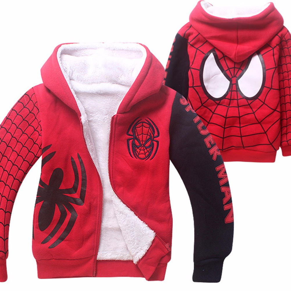 Kids Boys Spiderman Hooded Jacket Children Autumn Winter Sweatshirts Child Fleece Cartoon Coat Outfit For Boy New Year Outwear 2015 new arrive super league christmas outfit pajamas for boys kids children suit st 004