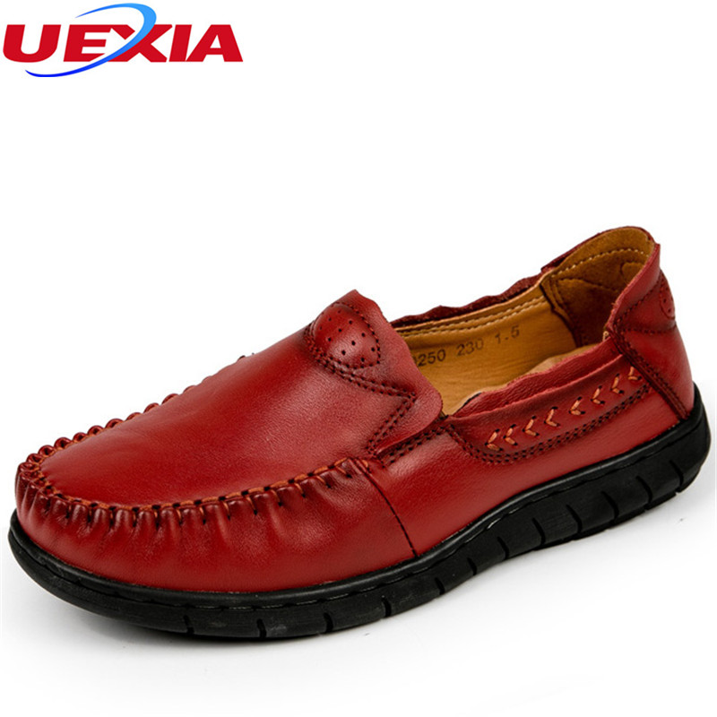 Handmade Sewing Cow Leather Women Shoes Flats Comfortable Breathable Rubber Sole Casual Mother Shoes Female Driving Footwear 11 women s shoes 2017 summer new fashion footwear women s air network flat shoes breathable comfortable casual shoes jdt103