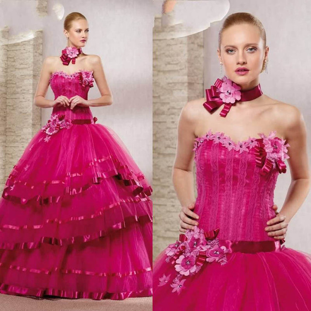 Fucsia Color Ball Gown vestidos novia vestidos hechos a mano largo ...