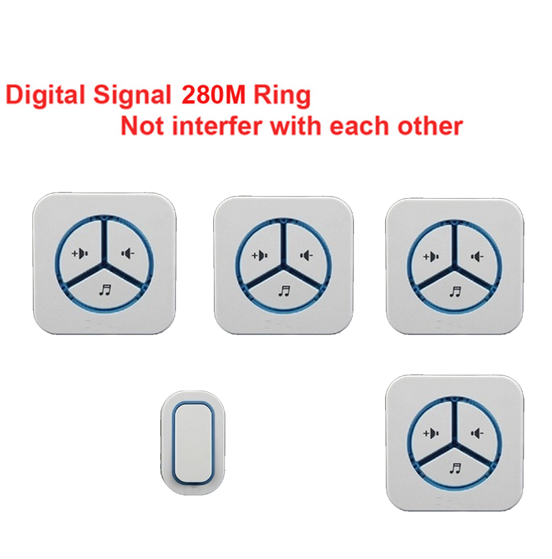 1 emitter+4 receivers doorbell Waterproof 280m work wireless doorbell,wireless door chime,wireless bell, 48 melodies door bell new door ring waterproof 280m long range wireless doorbell wireless door chime wireless bell door bell 48 melodies