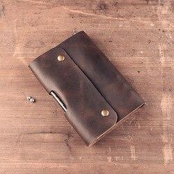 Podróżnika DIY Notebook w stylu Vintage A6 prawdziwej skóry pamiętnik Mini Planner notatnik skóry wołowej pamiętnik spirali luźne liści dzienniku BJB03