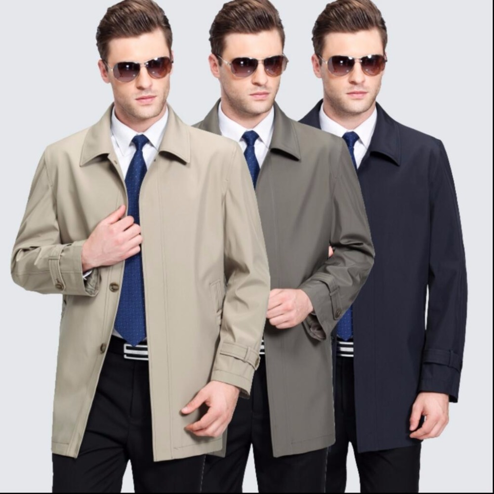 M-3XL New spring and autumn Middle-aged men's casual lapel long coat windbreaker men's thin coat father plus size trench coat