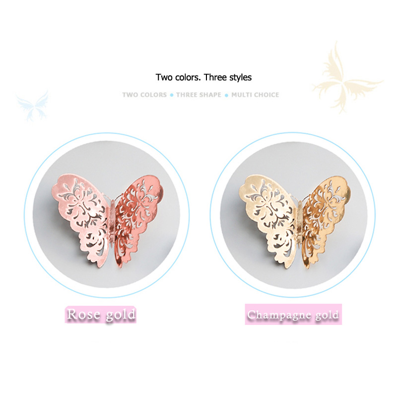 12pcs/set Rose Gold 3D Hollow Butterfly Wall Sticker For Home Decor Butterflies Stickers Room Decoration For Party Wedding Decor
