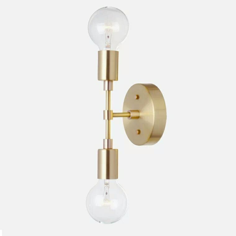 Double head indoor brass Wall Sconce E27 fitting brass Wall Lamp Fixture minimalist bedroom corridor living room indoor wall lamDouble head indoor brass Wall Sconce E27 fitting brass Wall Lamp Fixture minimalist bedroom corridor living room indoor wall lam