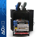 2 in 1 Disk Storage Tower with Dual Controller Charger for PS4 Dock Console Stand for Playstation 4 PS4 Game Case Storage Kit