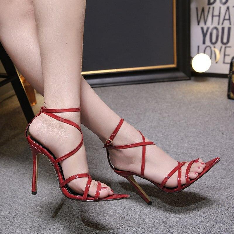HTB1UrQYXZvrK1Rjy0Feq6ATmVXam LTARTA Sexy Yellow Sandals Ladies Sandals Summer New Pointed Fish Mouth Cross Stilettos Sharp Point Toe 11.5cm heels ZL-222-5