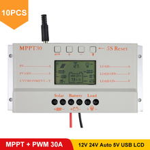 10PCS/LOT Wholesale MPPT 30A Solar Controller 12V 24V Auto Work USB 5V Solar Panel Battery LCD Charger Controller mppt 30 30Amps стоимость