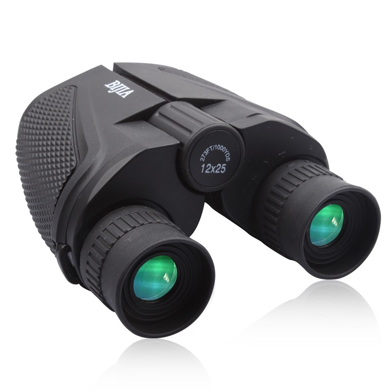 Bijia Binoculars 12x25 Waterproof Ultra-clear High-powered telescope Portable Binoculars telescope hunting Bak4 bijia 20x nitrogen waterproof binoculars 20x50 portable alloy body telescope with top prism for traveling hunting camping