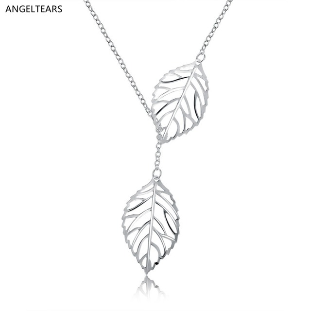 Creative design silver color leaf pendant necklace women fashion creative design silver color leaf pendant necklace women fashion party dress accessories designer jewelry collier aloadofball Image collections