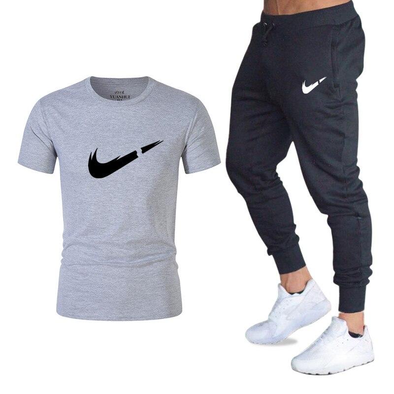 ผู้ชายชุดเสื้อ + กางเกง 2 ชิ้นชุดชุดลำลองผู้ชาย/ผู้หญิงใหม่แฟชั่นพิมพ์ชุด sportwear gyms ฟิตเนสกางเกง-ใน ชุดผู้ชาย จาก เสื้อผ้าผู้ชาย บน   1