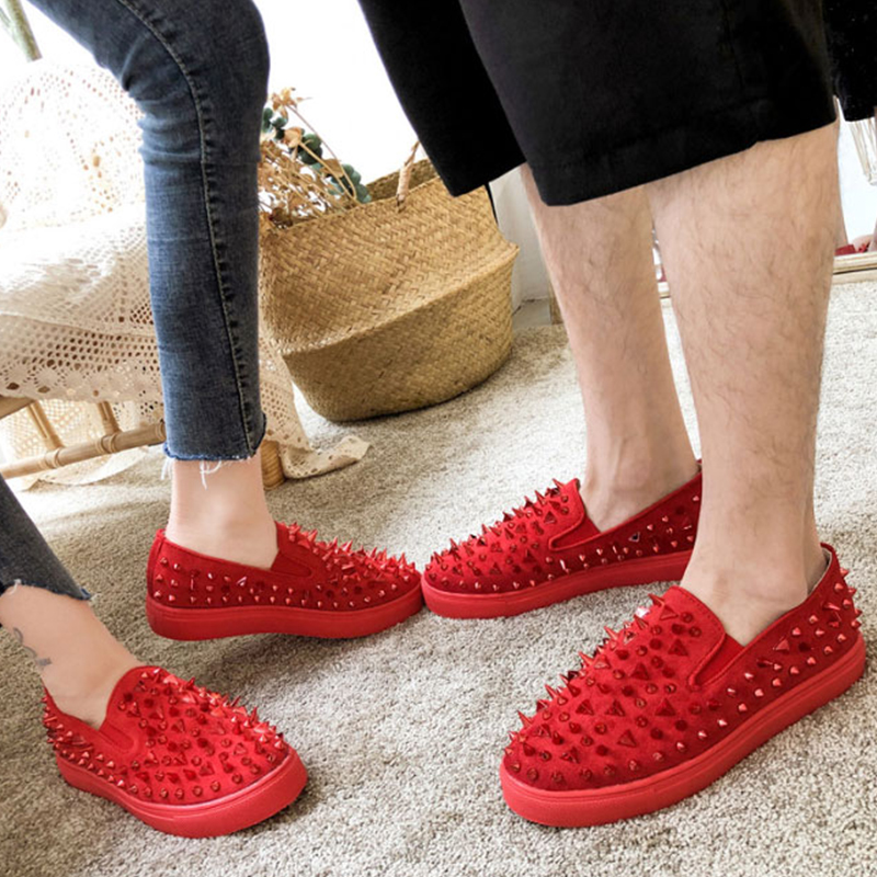 2019 New Rivet Punk Sneakers Women Shoes Flat Slip On Harajuku Black Red Plus Size 43 Casual chaussures femme