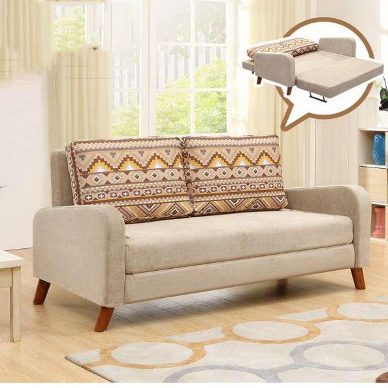 260303/1.4 m Multi-function double sofa/Foldable /living room small apartment / Home sofa bed /High quality flannel