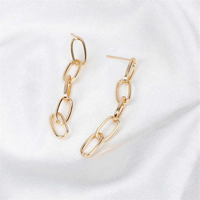 Gratis Pengiriman Tembaga Panjang Link Rantai Anting-Anting untuk Wanita Modis Rumbai Anting-Anting Perhiasan Hadiah Brinco