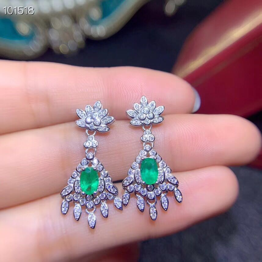 Fashion emerald eardrop for party 100% natural emerald drop earrings solid 925 sterling silver emerald wedding jewelry for womanFashion emerald eardrop for party 100% natural emerald drop earrings solid 925 sterling silver emerald wedding jewelry for woman