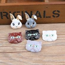 100pcs Korean DIY jewelry accessories gold-color alloy enamel cat rabbit head charms pendant for bracelet CH0082